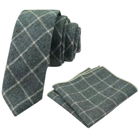 Elijah Green Check Skinny Tweed Tie and Pocket Square Set