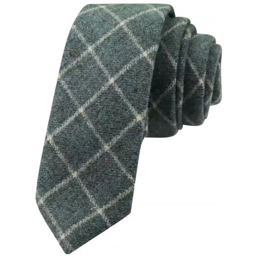 Elijah Green Check Mens Tweed Tie