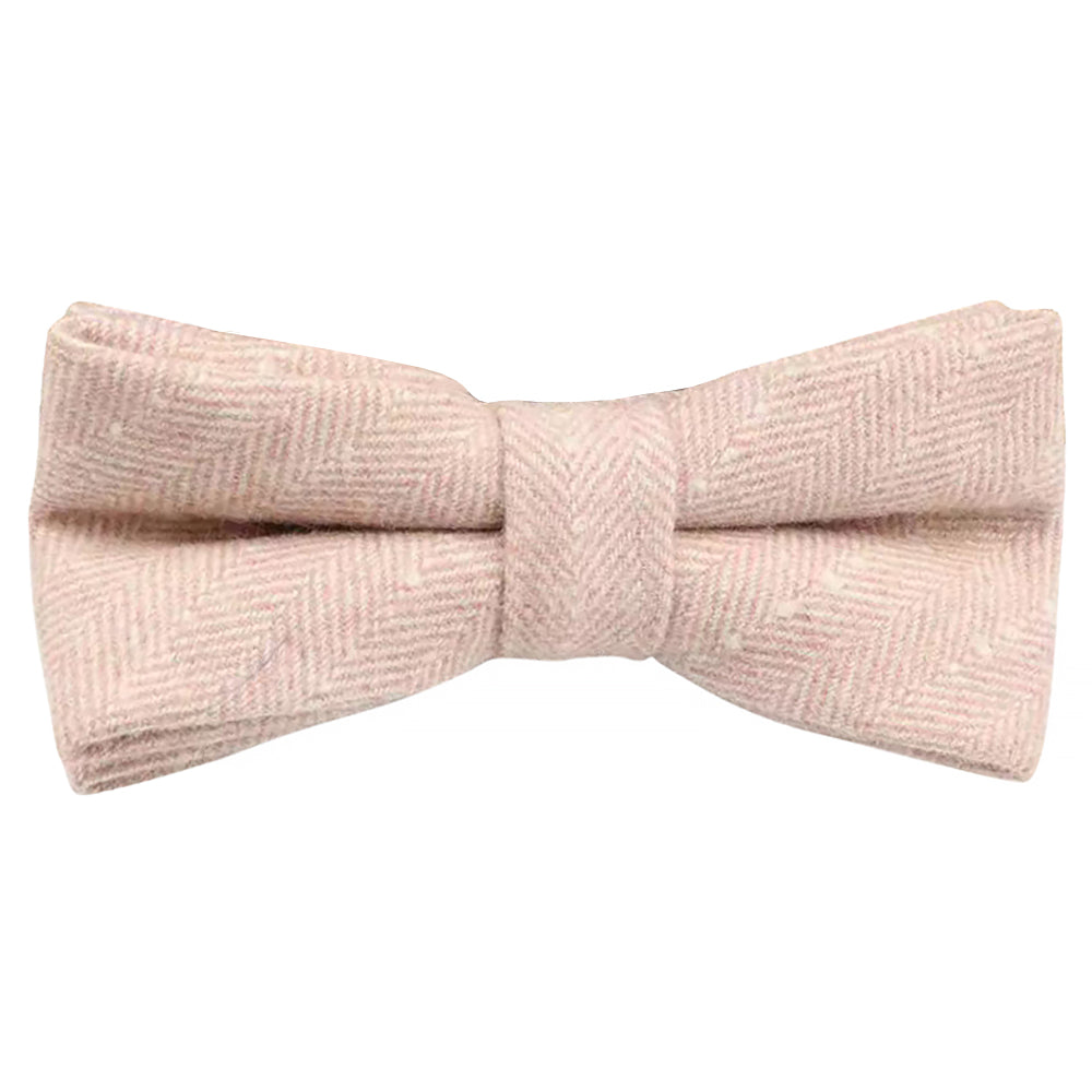 Elle Pink Herringbone Kids Boys Tweed Bow Tie