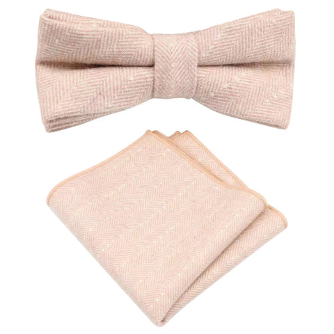 Elle Pink Herringbone Tweed Bow Tie and Pocket Square Set