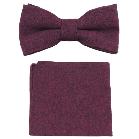 Emily Burgundy Red Bow Tie and Pocket Square Set