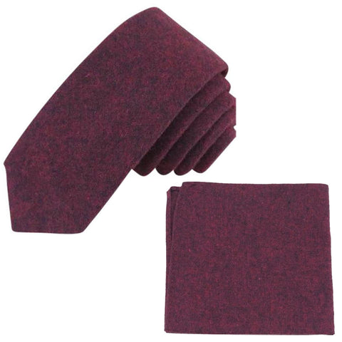 Emily Burgundy Red Skinny Tie and Pocket Square Set