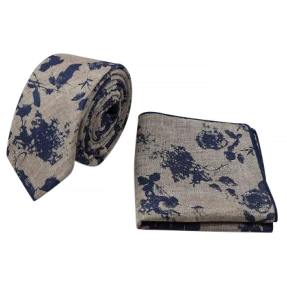 Etta Blue & Biscuit Brown Floral Tie and Pocket Square Set