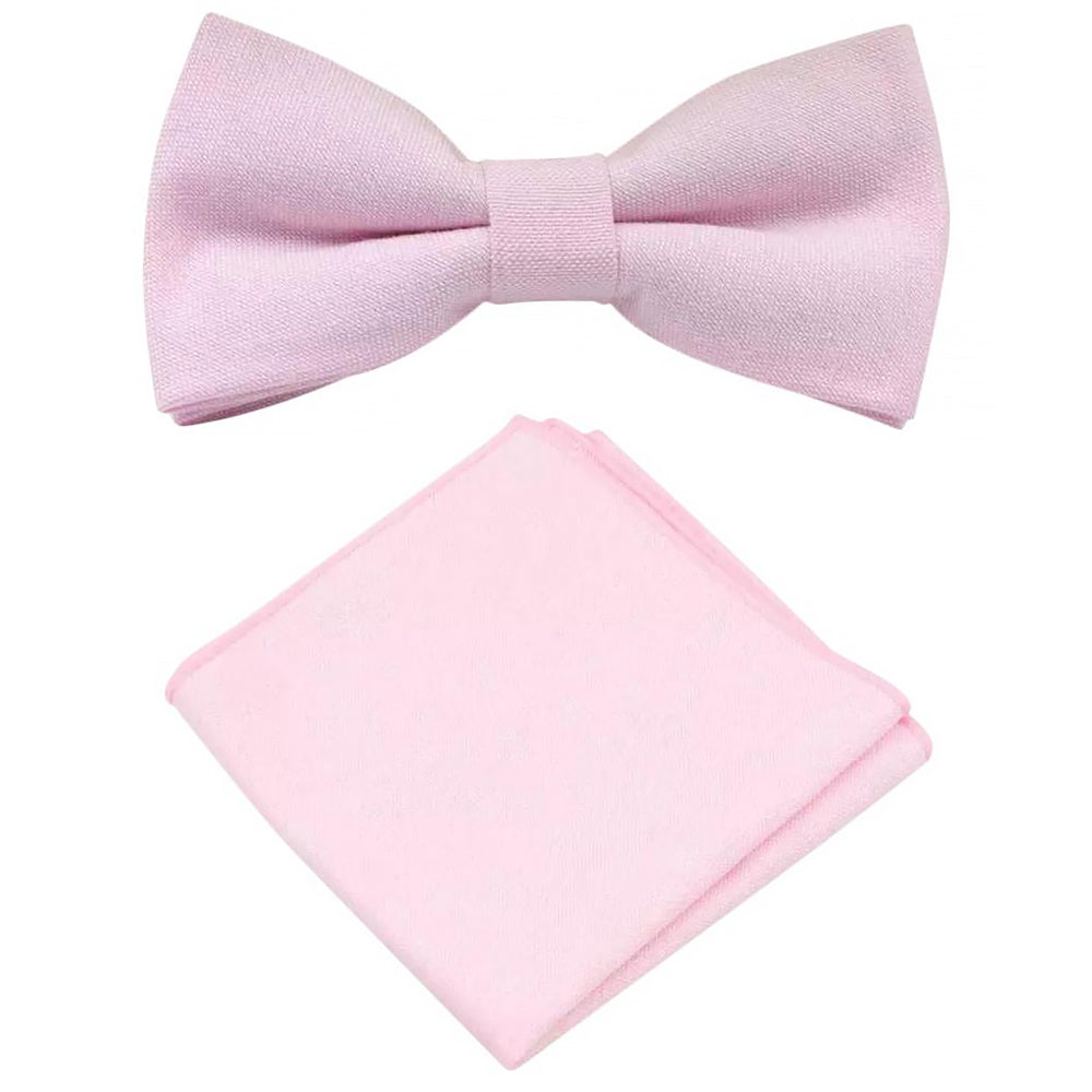 Faye Cotton Candy Pink Bow Tie and Pocket Square Set