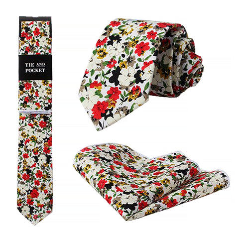 Angelina Floral Tie and Pocket Square Set