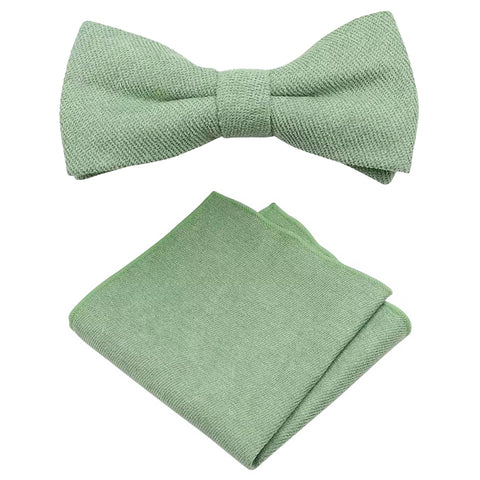 Harrison Sage Green Cotton Blend Bow Tie and Pocket Square Set