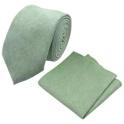 Harrison: Sage Green Cotton Blend Tie and Pocket Square Set