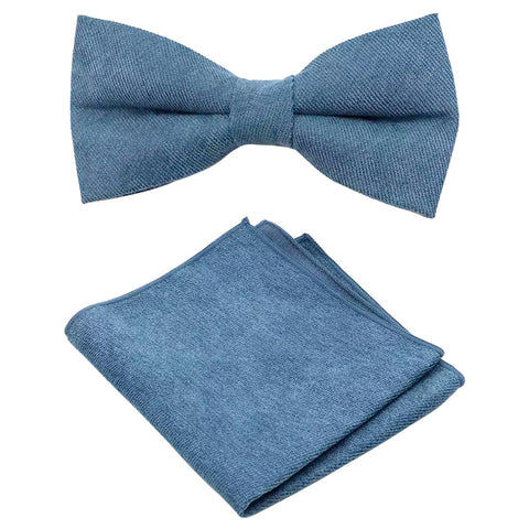 Hux Peacock Teal Blue Cotton Bow Tie and Pocket Square Set
