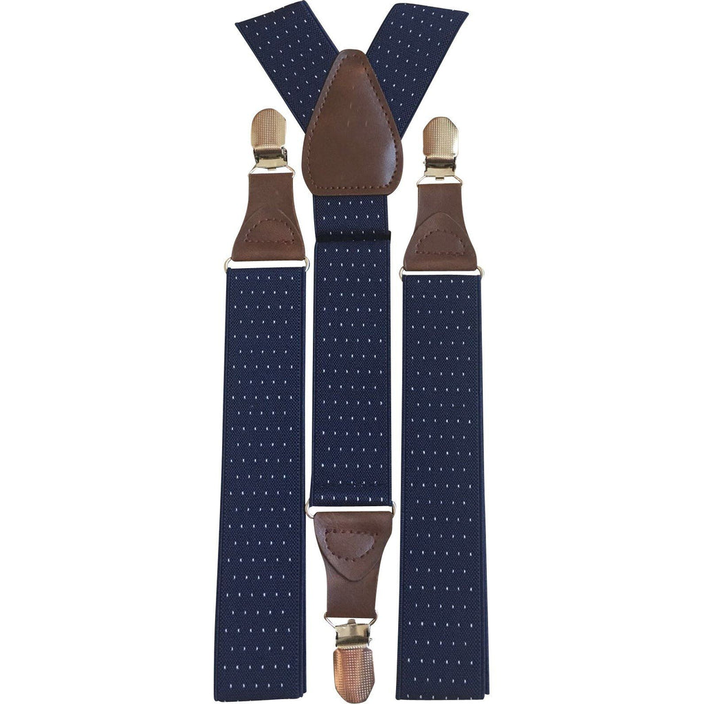 Polka Dot Adults Navy Blue Braces | Dickie Bow
