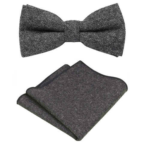 Jessica Charcoal Grey Tweed Bow Tie & Pocket Square Set