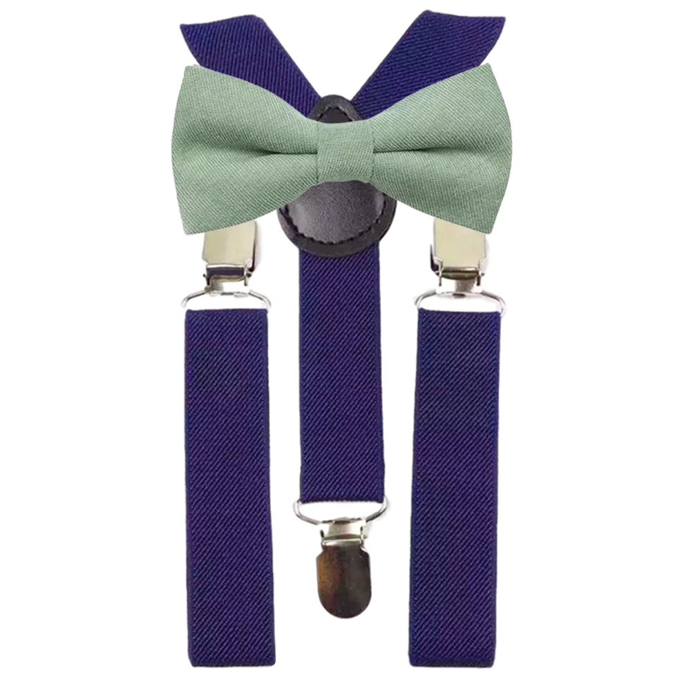 Harrison Boys Sage Green Cotton Bow Tie and Navy Braces