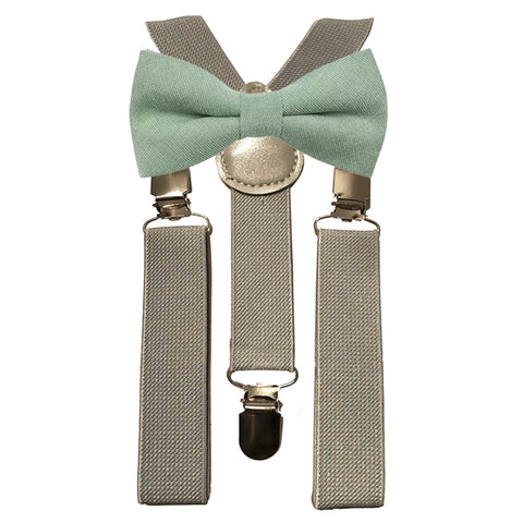 Harrison Boys Sage Green Cotton Bow Tie and Grey Braces
