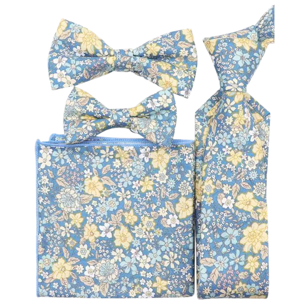 Lars Blue & Yellow Floral Bow Tie, Skinny Tie, Boys Bow Tie and Pocket Square Set