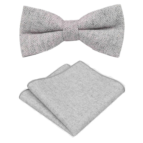 Laurie Light Grey Herringbone Tweed Bow Tie & Pocket Square Set