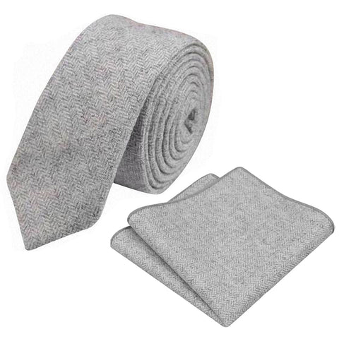 Laurie Light Grey Herringbone Skinny Tweed Tie & Pocket Square Set