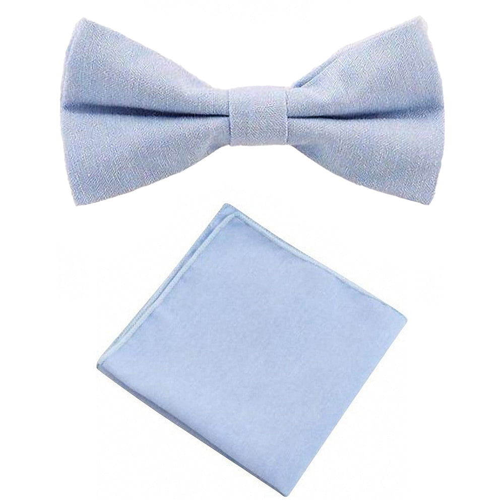 Leo Pale Blue Cotton Bow Tie & Pocket Square Set