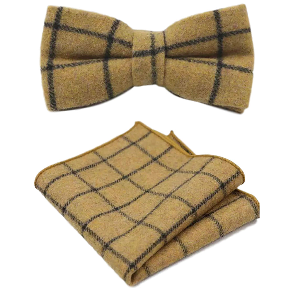 Luther Mustard Yellow Check Tweed Bow Tie and Pocket Square Set | Dickie Bow