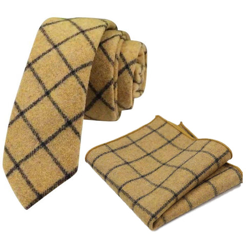 Luther Mustard Yellow Check Tweed Tie and Pocket Square Set | Dickie Bow