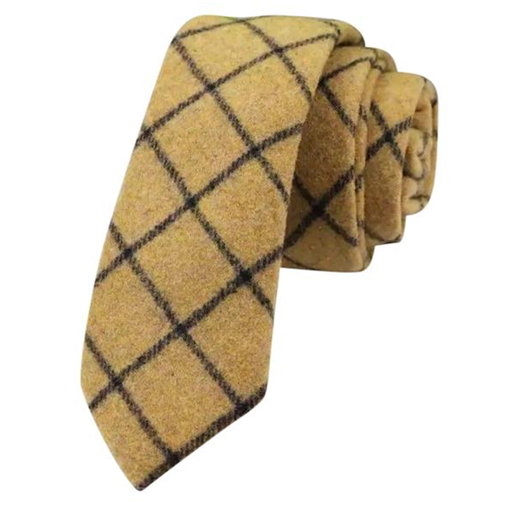 Luther Mustard Yellow Check Mens Tweed Tie | Dickie Bow