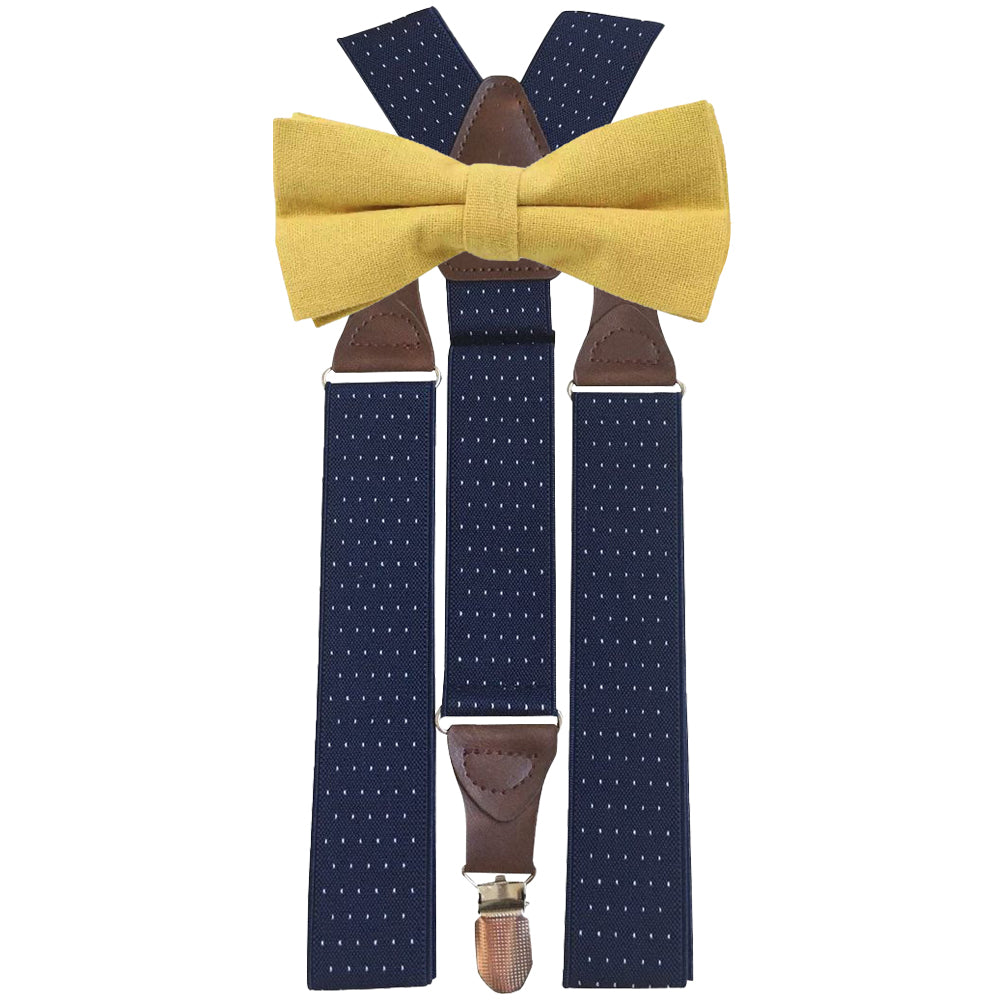 Alfie Mustard Yellow Adult Cotton Bow Tie and Navy Blue Polka Dot Braces Set