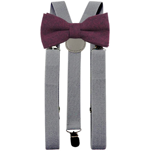 Emily Burgundy Red Adult Cotton Bow Tie and Slate Grey Braces Set