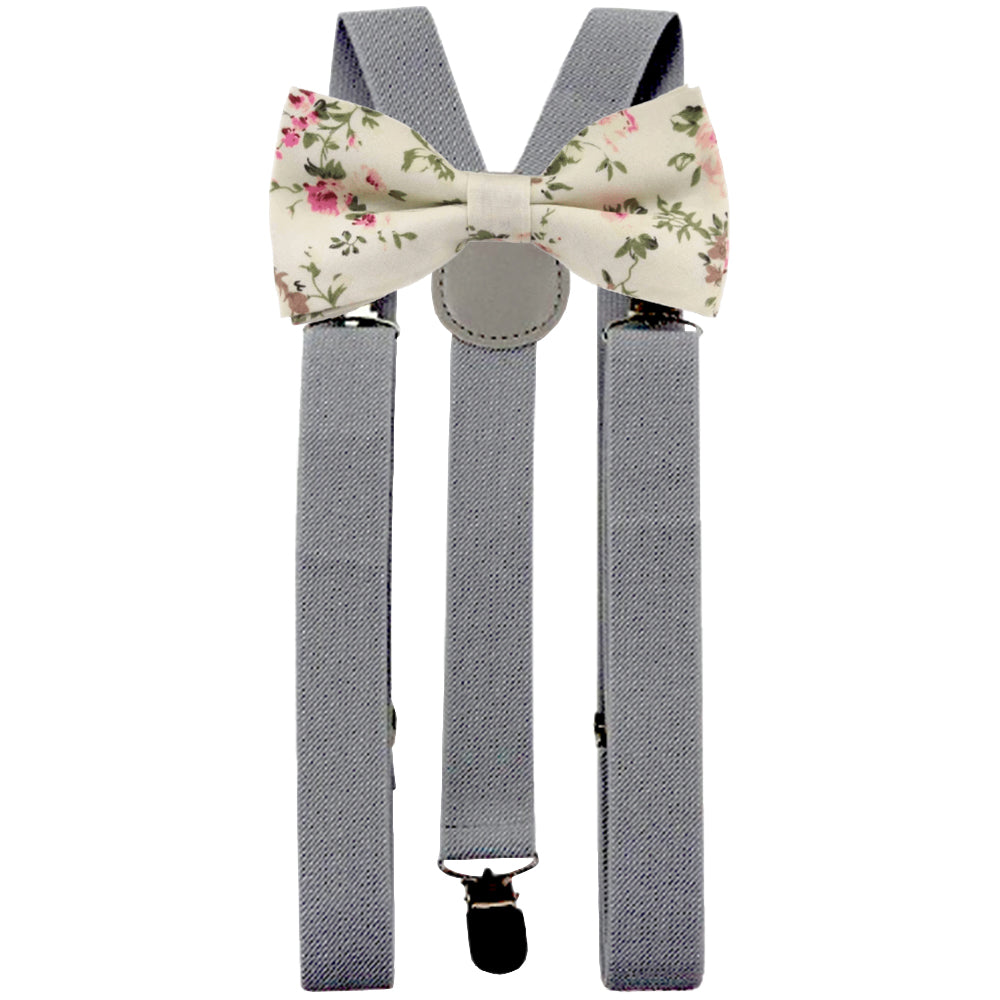 Olivia Cream Floral Adult Cotton Bow Tie and Slate Grey Braces Set