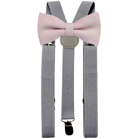 Daisy Dusty Pink Stripe Adult Cotton Bow Tie and Slate Grey Braces Set