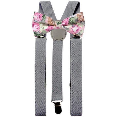 Penelope Pink Floral Adult Cotton Bow Tie and Slate Grey Braces Set