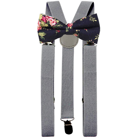 Vesper Black Floral Adult Cotton Bow Tie and Slate Grey Braces Set