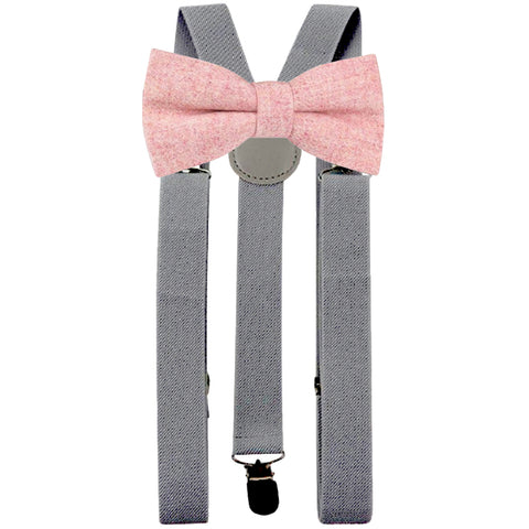 Ariah Pink Adult Tweed Bow Tie and Slate Grey Braces Set