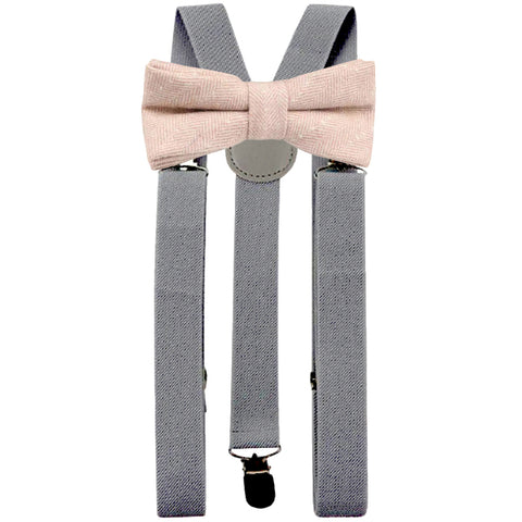 Elle Pink Herringbone Adult Tweed Bow Tie and Slate Grey Braces Set