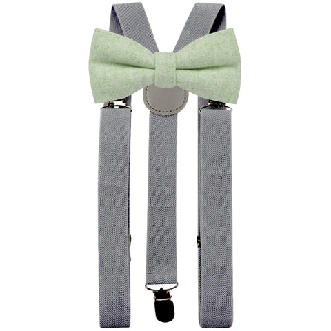 Morris Green Adult Tweed Bow Tie and Slate Grey Braces Set