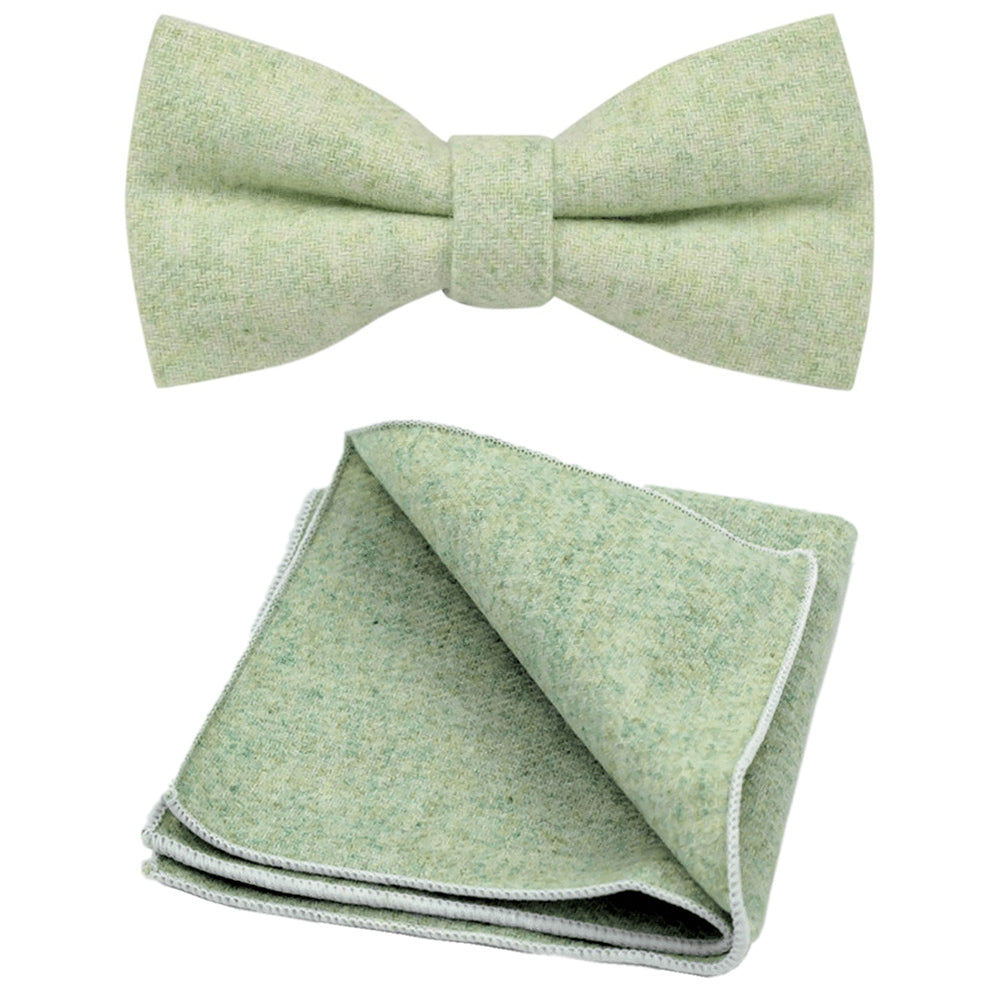 Morris Green Tweed Bow Tie and Pocket Square Set | Dickie Bow