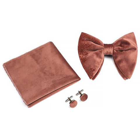 Mackay: Terracotta Velvet Bow Tie, Velvet Pocket Square and Matching Cufflinks Set