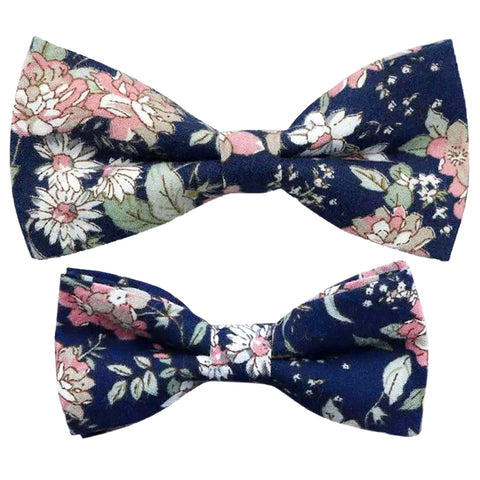 Margot Blue & Pink Floral Adult & Child Cotton Bow Tie Matching Set
