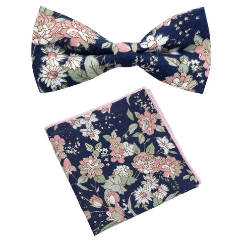 Margot Blue & Pink Floral Bow Tie and Pocket Square Set