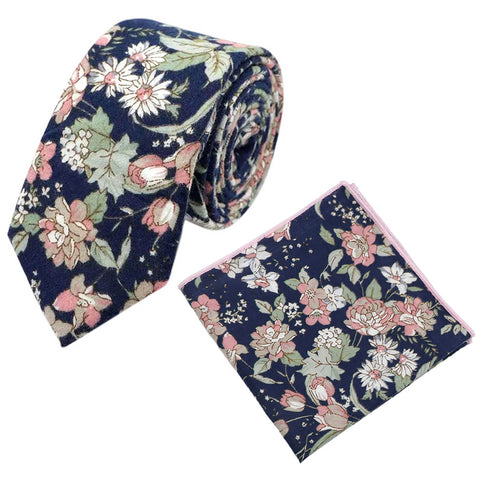 Margot Blue & Pink Floral Tie and Pocket Square Set