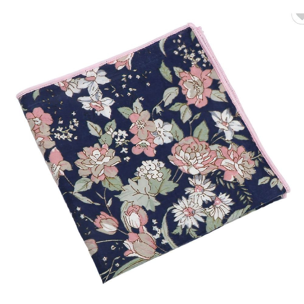 Margot Blue & Pink Floral Pocket Square