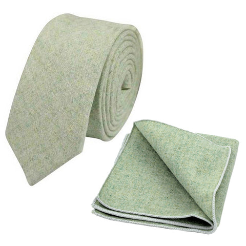 Morris Green Skinny Tweed Tie & Pocket Square Set