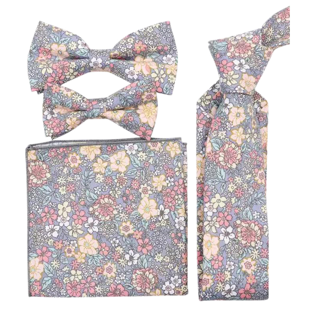 Nico: The Pink & Yellow Floral Bow Tie, Skinny Tie, Boys Bow Tie and Pocket Square Set