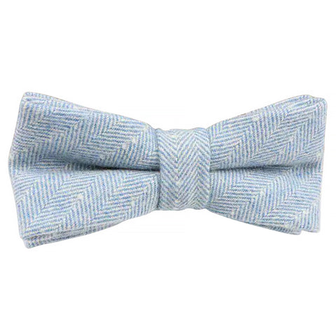 Nyla Blue Herringbone Tweed Bow Tie