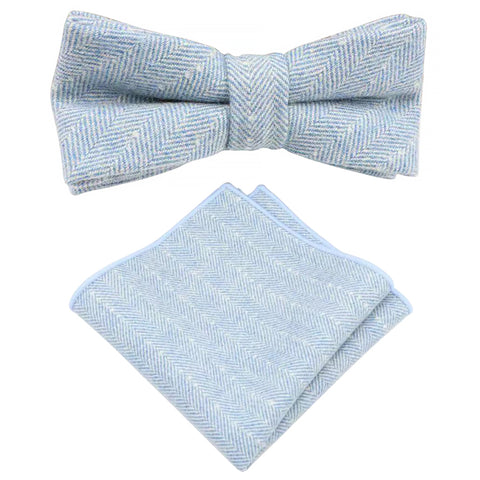 Nyla Blue Herringbone Tweed Bow Tie and Pocket Square Set | Dickie Bow