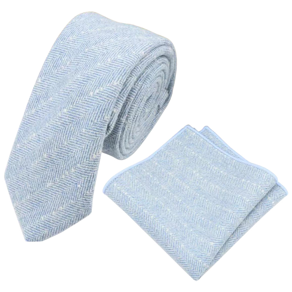 Nyla Blue Herringbone Skinny Tweed Tie and Pocket Square Set