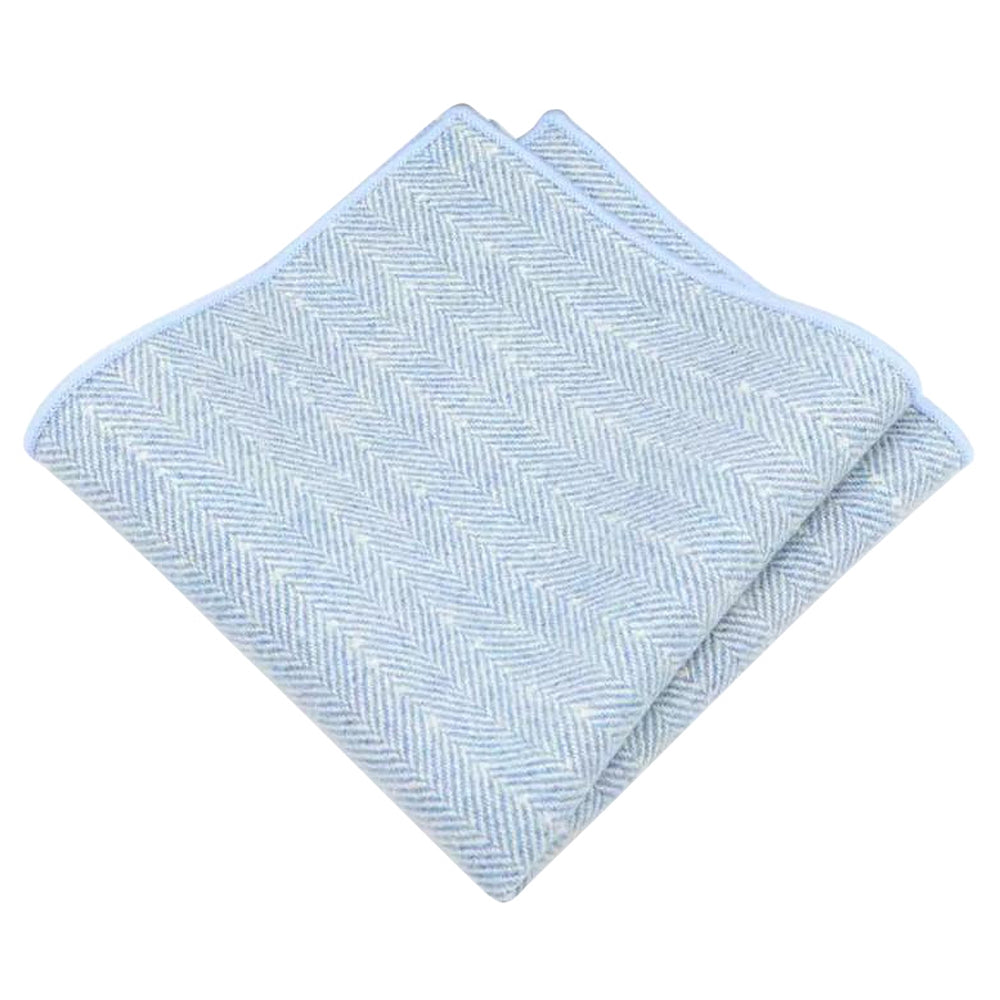 Nyla Blue Herringbone Tweed Pocket Square