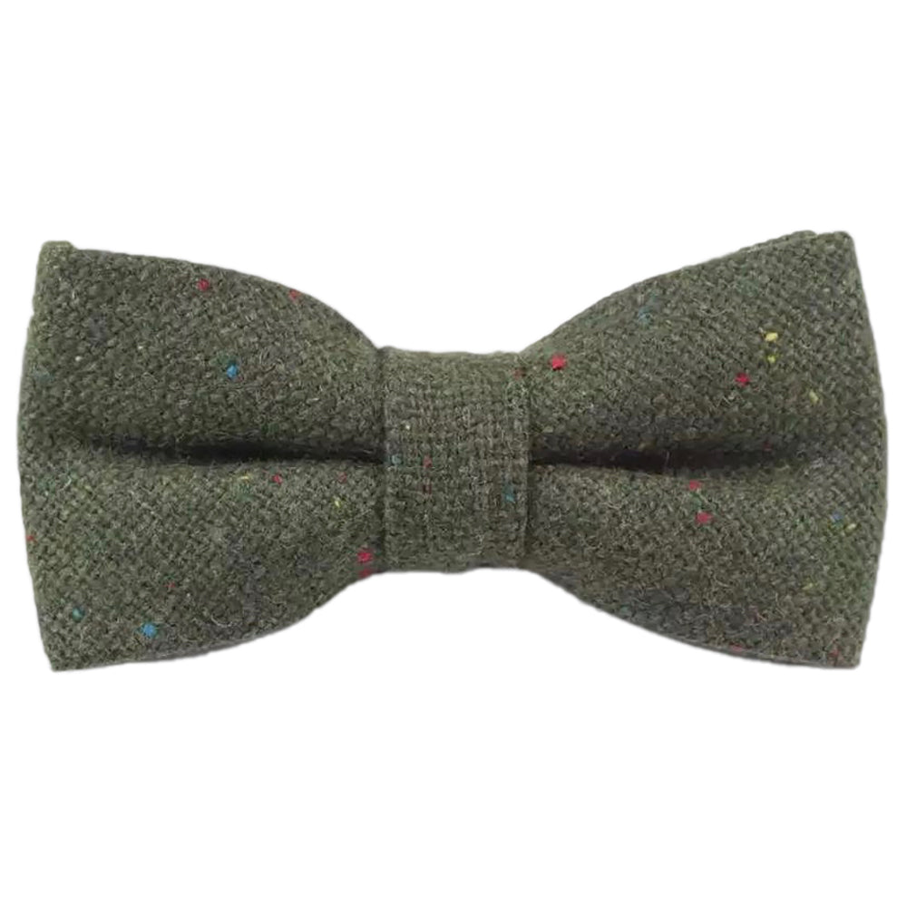 Olive Green Tweed Bow Tie