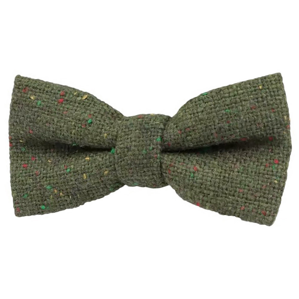 Olive Green Tweed Kids Boys Bow Tie
