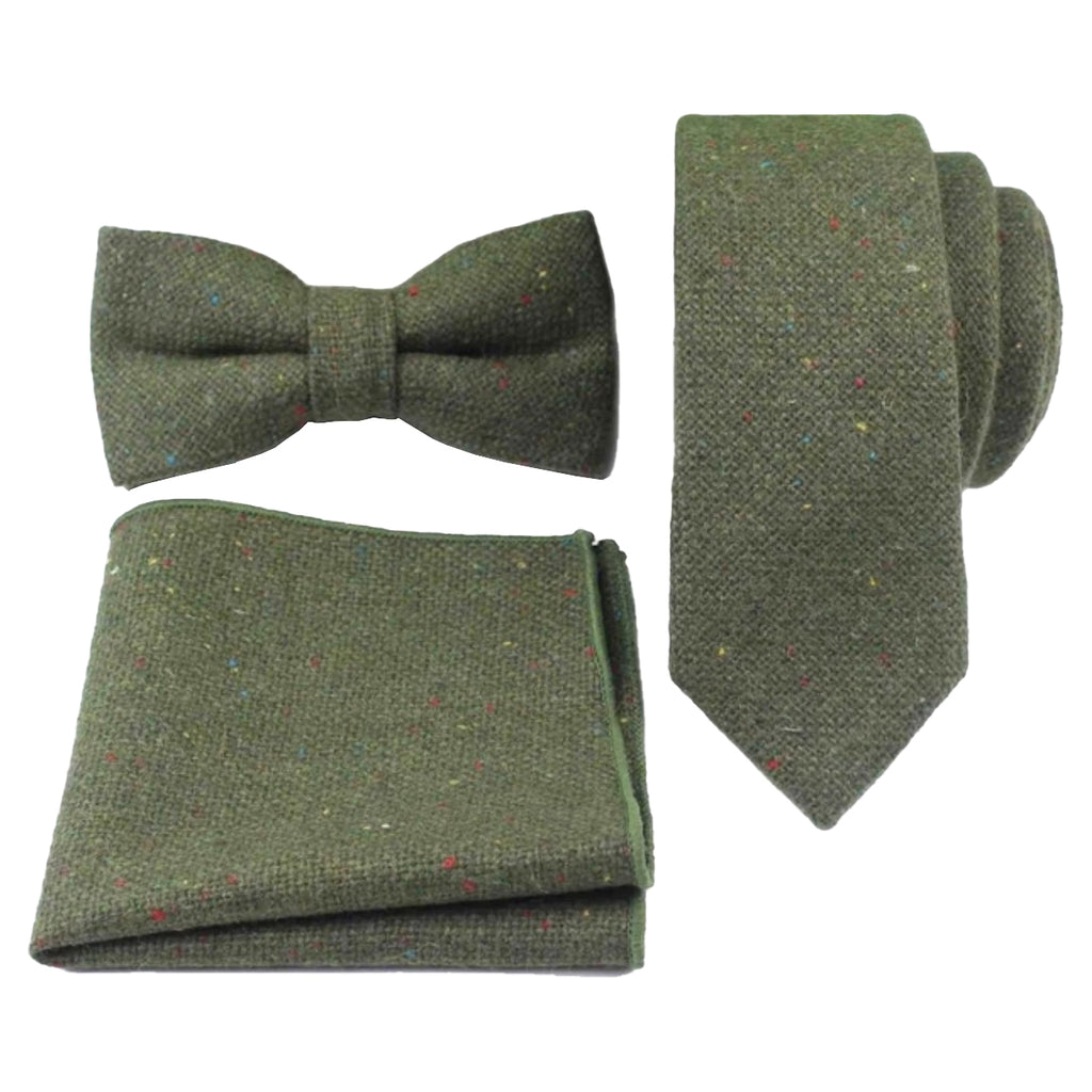 Olive Green Tweed Bow Tie, Skinny Tie and Pocket Square Set