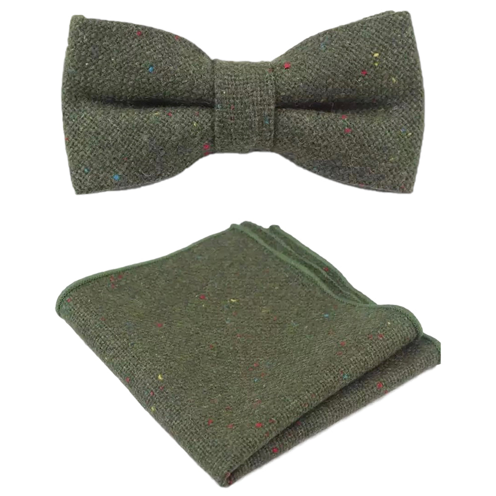 Olive Green Tweed Bow Tie and Pocket Square Set | Dickie Bow