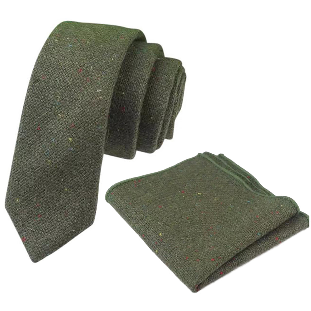 Olive Green Skinny Tweed Tie and Pocket Square Set