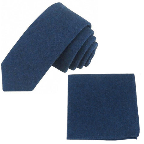 Oliver Navy Blue Skinny Tie & Pocket Square Set